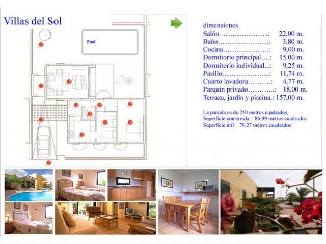 Floor Plan, dimensions and images - Villas del Sol, Corralejo, Fuerteventura