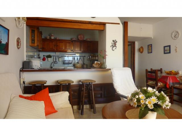 Open-style kitchen and breakfast counter - Nice Seaview Apartment, Puerto del Carmen, Lanzarote