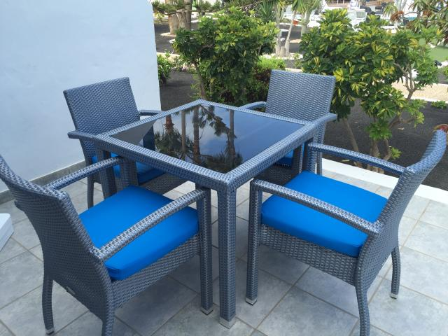 Apartment rattan patio furniture - 1 Bed - Diamond Club Calypso, Puerto del Carmen, Lanzarote