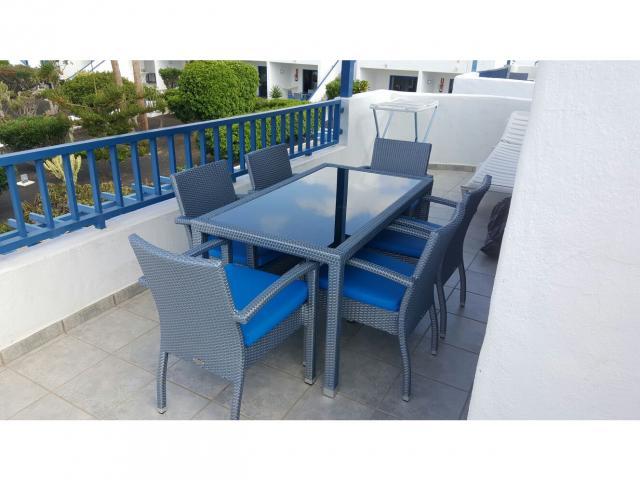 Apartment rattan patio furniture - 2 Bed - Diamond Club Calypso, Puerto del Carmen, Lanzarote