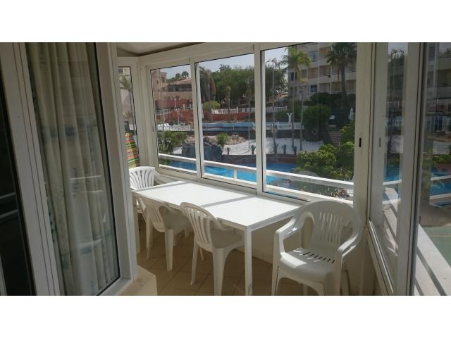Balcony with Pool view - GP Two bed Two bath, Golf del Sur, Tenerife
