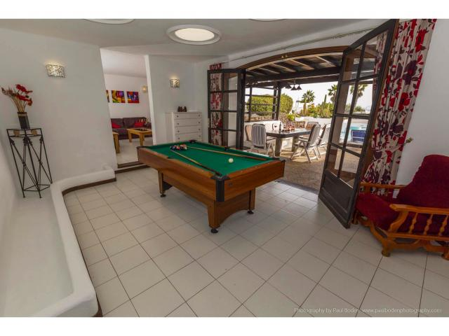 The atrium with full sized pool table - Villa Charlotte, Playa Blanca, Lanzarote