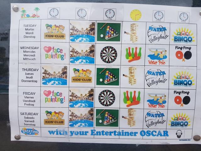 Typical kids club agenda - Fairways Club, Amarilla Golf, Tenerife